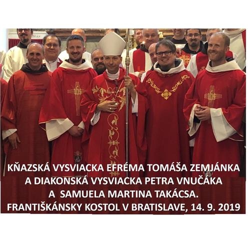 Noví kňazi a diakoni u Františkánov v Bratislave